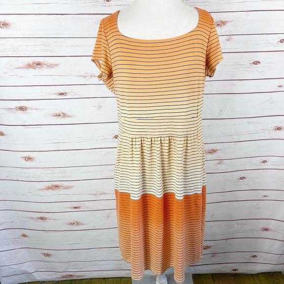 J. McLaughlin Orange Ombre Striped Emma Dress